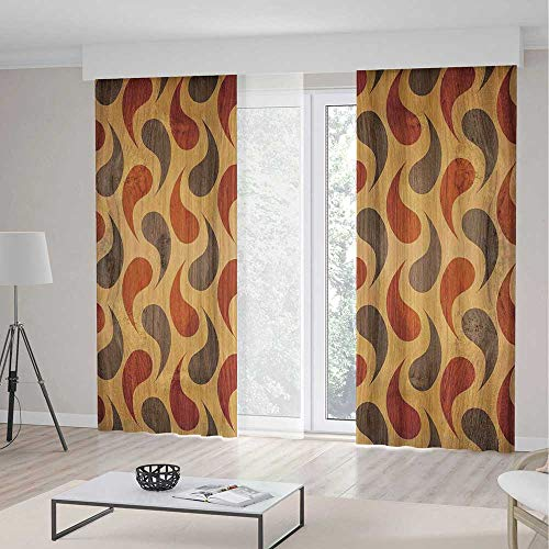 (ALUONI Living Room Curtains TT02 Rustic Home Decor Living Room Bedroom Window Drapes Abstract Tadpole Patterns Tiling of Wavy 2 Panel Set 196W x 104LInches)
