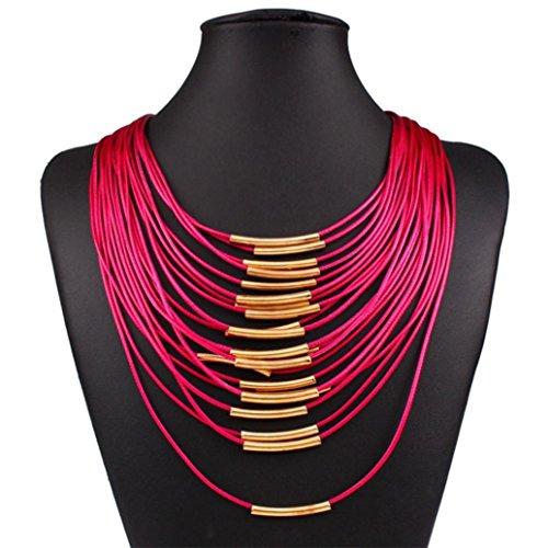 Clearance Necklace Charm Rhinestone Statement Bib Chain Choker Pendant Necklace Jewelry Laimeng_World (Hot Pink)