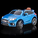 SUPERtrax Licensed Ford Focus RS Kid's Ride On Electric Toy Car, Remote Control, EVA Foam Rubber Tires, Leather Seat, Free MP3 Player - Nitrous Blue