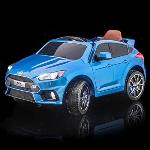 SUPERtrax Licensed Ford Focus RS Kid's Ride On Electric Toy Car, Remote Control, EVA Foam Rubber Tires, Leather Seat, Free MP3 Player - Nitrous - Blue Nitrous