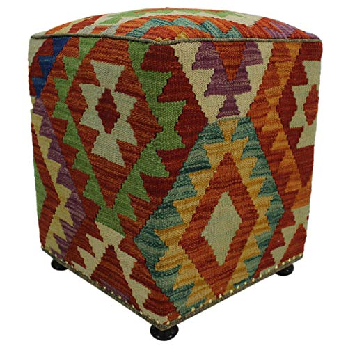 Arshs Fine Rugs Hutcheso Rust/Green Handmade Kilim Upholstered Ottoman 16