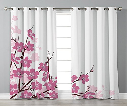 Thermal Insulated Blackout Grommet Window Curtains,Asian Decor,Japanese Cherry Blossoms Sakura with Branches Spring Time Flower Garden Artsy Illustration,Pink White,2 Panel Set Window Drapes,for Livin from iPrint