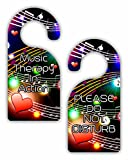 Music Therapy in Action/Please Do Not Disturb - Multicolored Musical Clefs and Notes - Double-Sided Hard Plastic Glossy Door Hanger