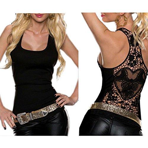 QIN Fuori Pizzo Halter Uncinetto Scava Canotta Sexy Ragazze Canotta Posteriore Nero Donna JU Clubwear TwpXqTr