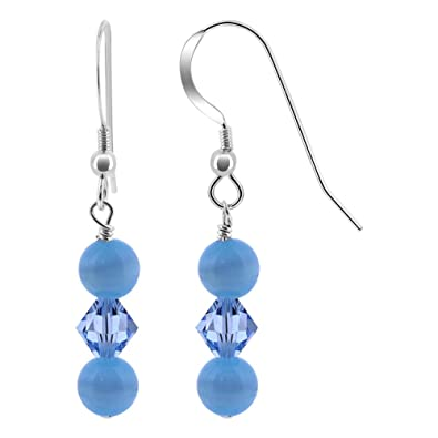 71511c06bfadf4 Amazon.com  925 Sterling Silver Blue Cats Eye Beads Drop Earrings Made with  Swarovski Elements Crystal  Jewelry
