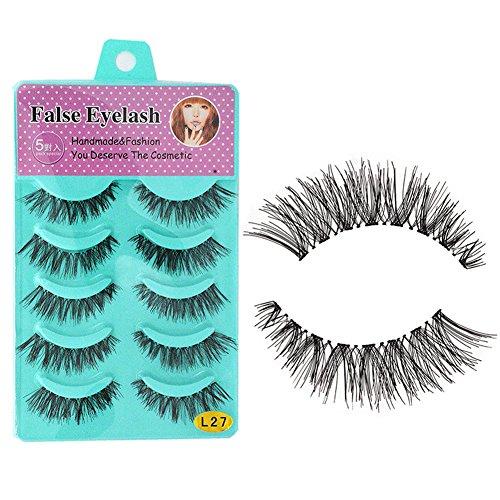 Gracefulvara 5 Pairs False Eyelashes Natural Thick Black Eye Lashes