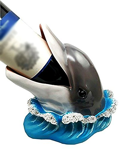"Custom & Unique {8"" x 9"" Inch} 1 Single, Home & Garden ""Standing"" Figurine Decoration Made of Grade A Resin w/ Bottle Nose Dolphin Wine Bottle Holder Style {Black, White, & Grey}"