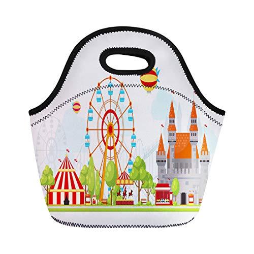 Semtomn Lunch Bags Fair Colored Amusement Park Composition Entertainment for Children Ferris Neoprene Lunch Bag Lunchbox Tote Bag Portable Picnic Bag Cooler ()