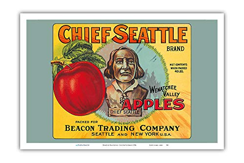(Pacifica Island Art - Wenatchee Valley Apples - Chief Seattle Brand - Vintage Fruit Crate Label c.1920s - Master Art Print - 12in x 18in)