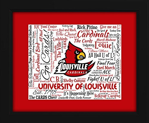 University of Louisville 16x20 Art Piece - Beautifully matted and framed behind glass - Louisville Cardinals Art Glass