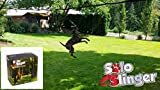 Tumbo's Solo Slinger outdoor tough hanging 50 ft zipline dog toy (uses bungee force to sling the rope toy back and fourth to the center)