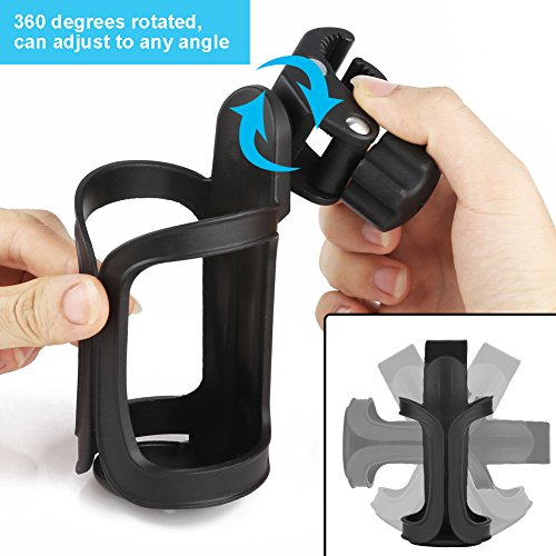 Upgrade Edition Universal Bike Cup Holder, Stroller Drink Holders by Accmor ,360 Degrees Universal Rotation Cup Drink Holder for Baby Stroller/Pushchair, Bicycle Strollers , Wheelchair