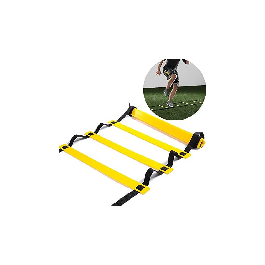 Speed Agility Ladder Kuyou 10 Rung Training Ladder for Soccer Speed Basketball Football Fitness Feet Training with Carry Bag 15 feet