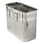 """Kitchen Utensils Chopsticks Holder Drying Rack Basket with Hooks 2 Divided Compartments Quality Stainless Steel Large L5.4"""" X H4.3"""" X W2.6"""""""