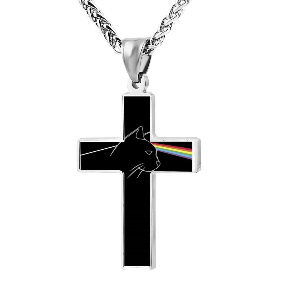 Kenlove87 Patriotic Cross The Cat Religious Lord'S Zinc Jewelry Pendant Necklace