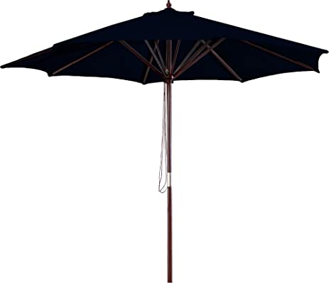 Delightful Jordan Manufacturing Wood Market Umbrella Black
