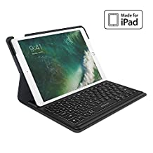 "dodocool iPad Pro Case with Smart Keyboard for 10.5"", Smart Connector Slim Shell Protective Case Stand, Backlit Keys, Auto Sleep / Wake, Built-in Holder for Apple Pencil Black-MFi Certified"