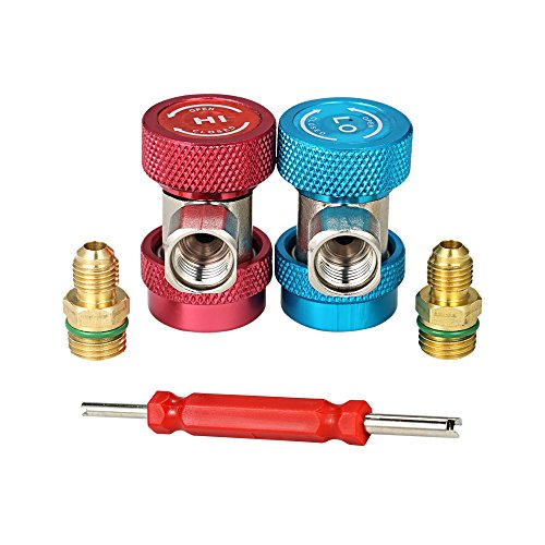 "3pcs 1/4"" Adjustable R134A Quick Couplers Adapters High Low AC Manifold Gauge Hose Conversion Kit with Valve Remover"