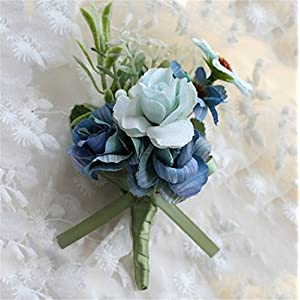 MOJUN Groom Flowers Rose Boutonniere Corsage Brooch Wedding Rose Boutonniere 120