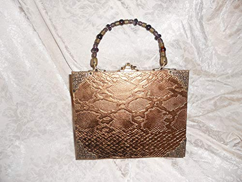 Cigarbox Purse, Taupe Neutral Embossed Snakeskin Leather, Tina Marie Purse Purse, Vintage