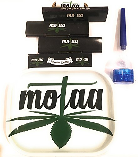 MOTAA Ash Tray with 4 Classic King Size Slim w/Filter Tips, Bonus - Cone Grinder with 10Ft of 100% Organic MOTAA Hemp Wick