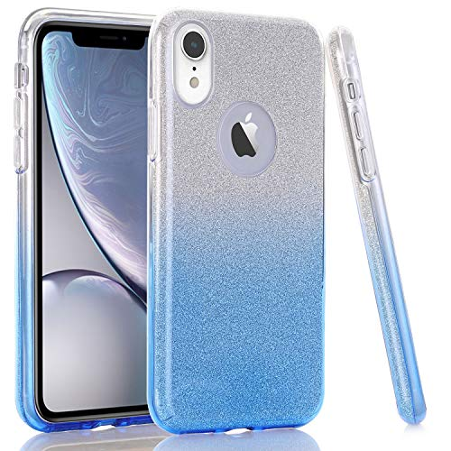 WALAGO Clear Blue Gradient Bling Glitter Sparkle Three Layer Shockproof Soft TPU Outer Cover + Hard PC Inner Protective Shell Skin for iPhone XR 2018 [6.1 inch]