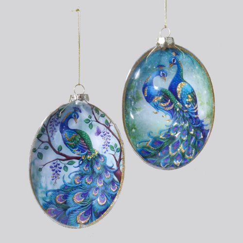 Kurt Adler Glass Peacock Disc Ornament Set by Kurt Adler