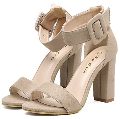 Toe Dressy Elegant Open Buckled Strap apricot Chunky Sandals High Ankle Heel Aisun Women's wOfqxROI