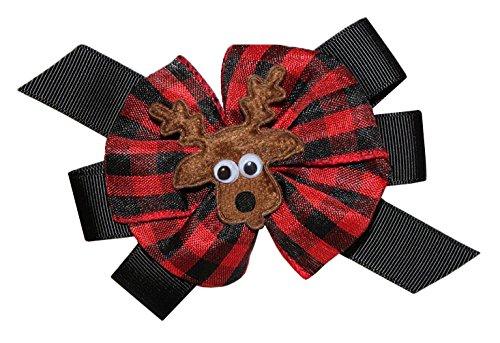 WD2U Girls Woodland Forest Friend Buffalo Plaid Deer Hair Bow French Clip USA