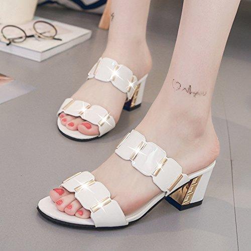 HGTYU Women'S Shoes Summer Rough Heel Female 6Cm Heel Thirty-five