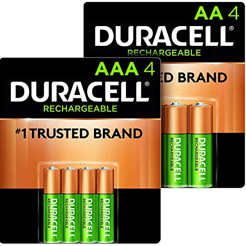 Duracell - Rechargeable AA + AAA Batteries combo pack, 4 count each - long lasting, all-purpose Double A & Triple A battery for household and business - 8 count total