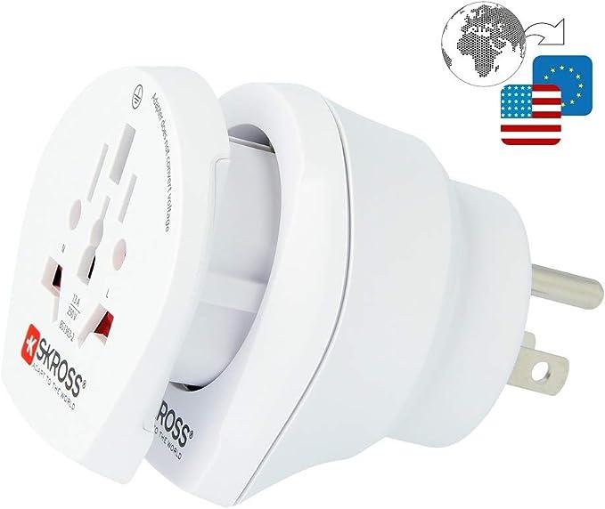 SKROSS by Poly Pool SK500204 - Adaptador de Viaje para Enchufe Americano Combo Europe to USA y World to Europe: Amazon.es: Electrónica