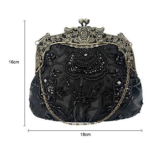 Bolsa color Tarde Las Hombro Lentejuela Tamaño Del 5cm De Mujeres Boda 18cm La Bolso 16cm Hombro Black Embrague 4 Vendimia rOgrwWq1R