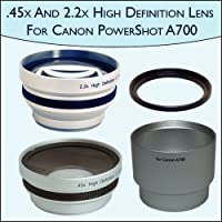 .45x Wide Angle & 2.2x Telephoto Pro Lens Set for Canon PowerShot A700