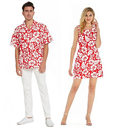Couple Matching Hawaiian Luau Cruise Outfit Shirt Tank Dress Classic Vintage Hibiscus Red Men 2XL Women M