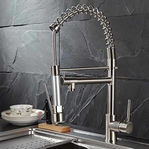 Fapully Contemporary Spring Single Handle Kitchen Sink Faucet with Pull Down Sprayer, Brushed Nickel by Fapully