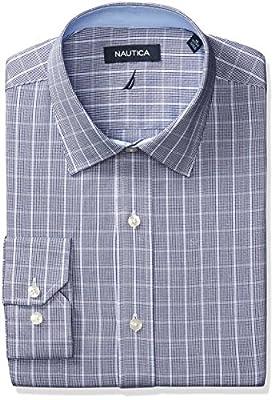 Nautica Men's Twill Plaid Spread Collar Dress Shirt