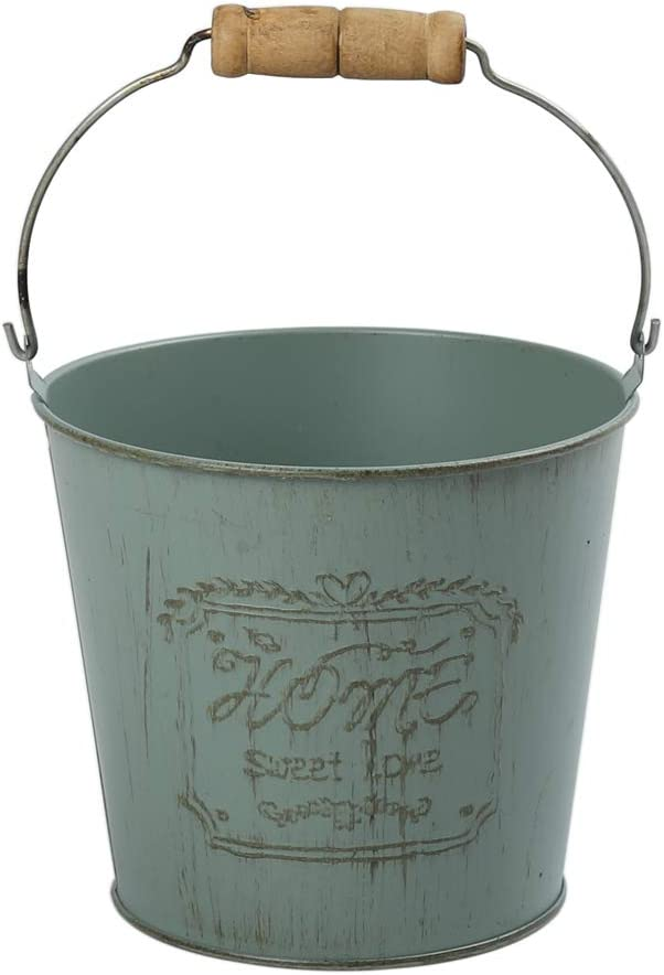 """WHHOME Shabby Chic Metal Decorative Vase Cute Rustic Bucket Flower Holder, Home Office Decor, 7.2"""" H (Green)"""