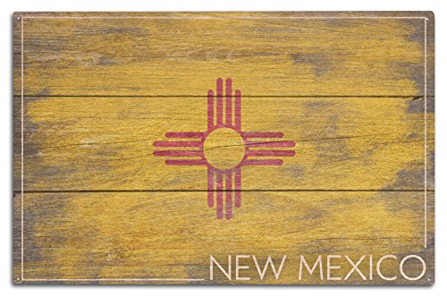 (Lantern Press Rustic New Mexico State Flag (10x15 Wood Wall Sign, Wall Decor Ready to Hang))