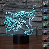 3D Dinosaur Night Light 7 Color Change LED Table Desk Lamp Acrylic Flat ABS Base USB Charger Home Decoration Toy Brithday Kid Children Gift