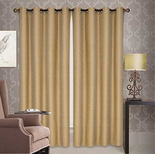 All American Collection New 2 Panel Jacquard 60% Guaranteed Blackout Curtain Set