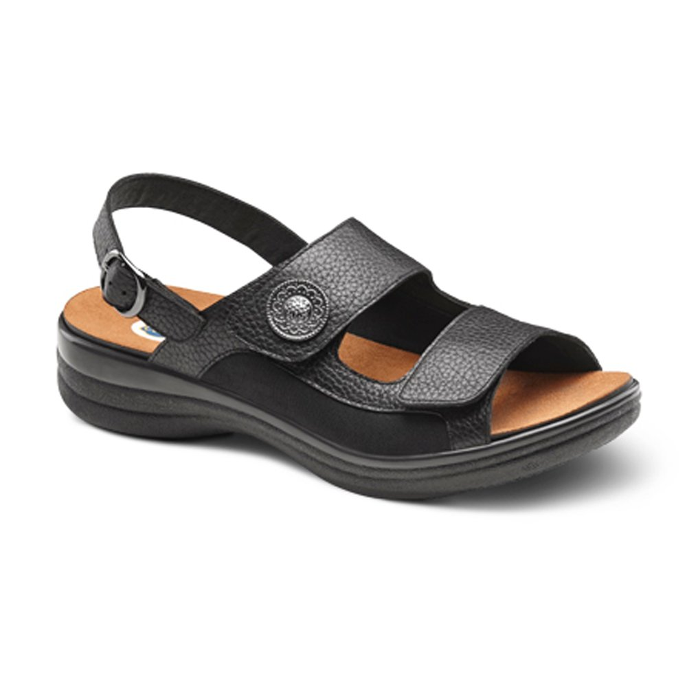 Dr. Comfort Lana Women's Comfort Extra Depth Sandal: Black 7.0 Medium/Wide (B-D) Velcro by Dr. Comfort (Image #1)