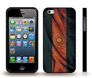 Case For Ipod Touch 5 Cover with Argentina Flag Antique Wavy Look Design , Snap-on Cover, Hard Carrying Case (Black)