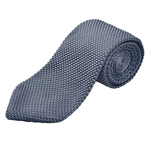 Woven Tie (Alizeal Knit Tie for Men, Solid Slim Casual Knitted Neckties, Grey)