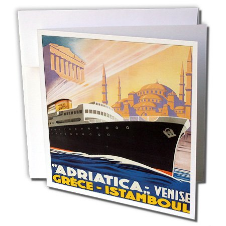 (3dRose BLN Vintage Travel Posters and Luggage Tags - Adriatica Venise, Greeze Istamboul Travel Poster with Ocean Liner - 12 Greeting Cards with envelopes)