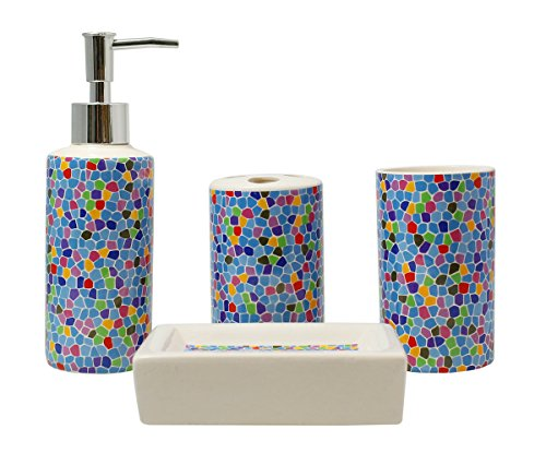 4piece ceramic bathroom accessory set blue scatter pattern