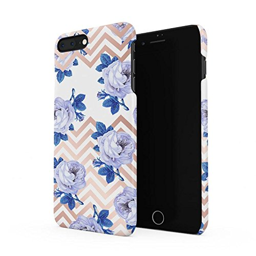 White Roses & Gold Chevron Hard Plastic Phone Case For iPhone 7 Plus & iPhone 8 Plus