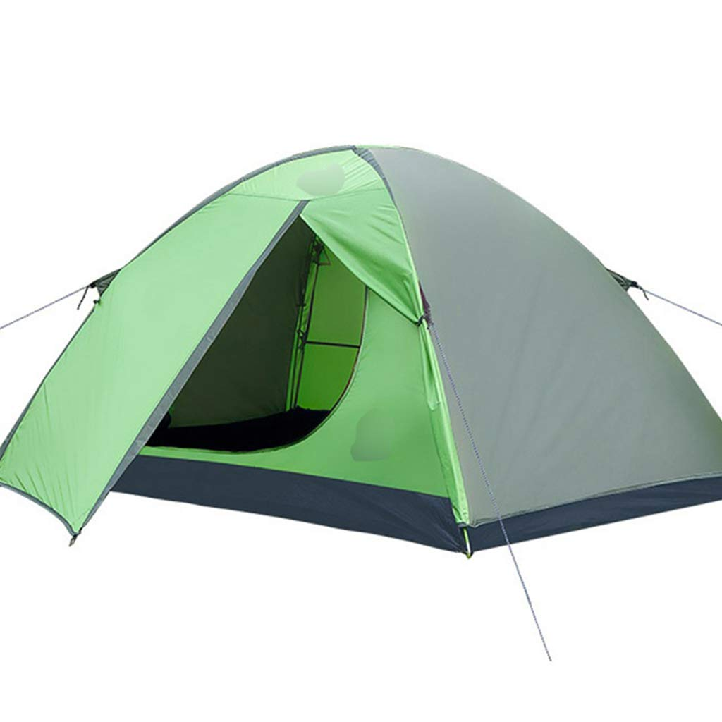 YaNanHome Doppeltes Starkes Winddichtes Zelt des Zeltes im Freien Zelt 2 Leute Wildes kampierendes Zelt Doppelte Farbe wahlweise freigestellt (Farbe : Grün, Größe : 210  140  110cm)