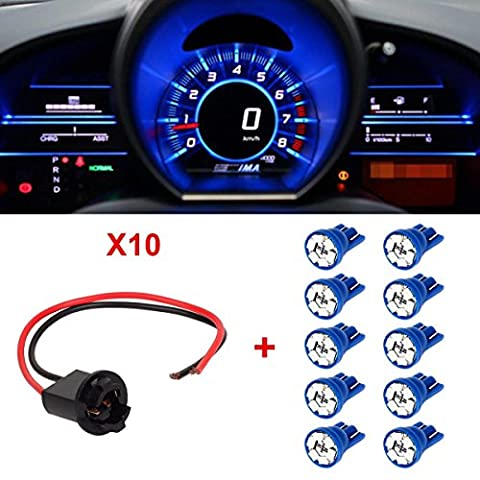 Partsam T10 194 LED Light Bulb 168 LED Bulbs Bright Instrument Panel Gauge Cluster Dashboard LED Light Bulbs with Socket Extension Connector Wire Harness (Custom Instrument Cluster)