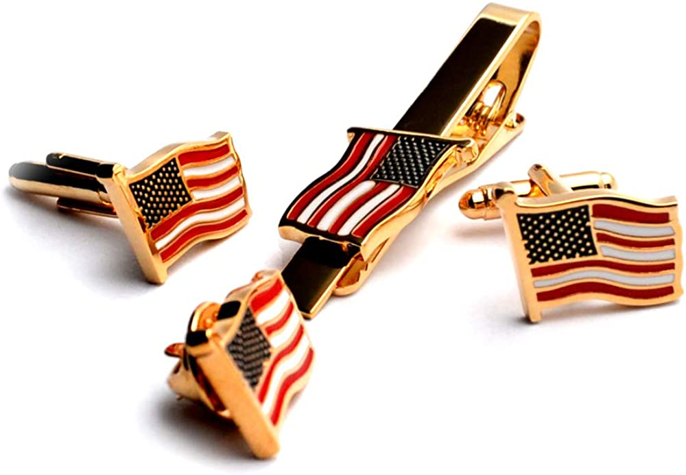 BXLE The American Flag Tie Bar Clip + Cufflinks + Brooch Lapel Pin, Gift Boxed Official Suit Accessories for United States of America, USA Government, Lawyer, Soldier, Patriot